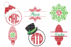 Christmas SVG Files Monogram Frame Cut Files Heat Transfer Vinyl Scrapbooking Stencil EPS DXF Silhouette Cameo Cricut Commercial Use example image 1