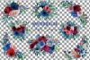 Colorful navy and burgundy floral watercolor wedding bouquet example image 2