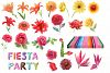 Mexican watercolor flowers,still life.Fiesta party. example image 6