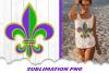 Mardi Gras Jester Fleur De Lis Beads Sublimation PNG Bundle example image 3