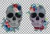 Floral skull watercolor decoration clip art. Skull shirt png example image 2