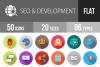 SEO & Development Flat Long Shadow Icons example image 1