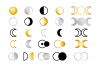 Moon Cycle Icons Clip Art Set example image 1