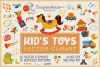 Kid's Toys Vector Cliparts & Seamless Patterns example image 1