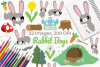 Rabbit Boys Clipart, Instant Download Vector Art example image 1