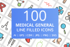 100 Medical General Filled Line Icons example image 1