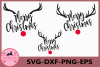 Merry Christmas svg, Deer Antlers, Deer Christmas svg example image 1