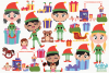 Christmas Elves Girls Clipart, Instant Download Vector Art example image 2
