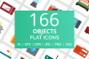166 Objects Flat Icons example image 1