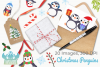 Christmas Penguins Clipart, Instant Download Vector Art example image 4