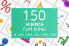 150 Science Flat Icons example image 1