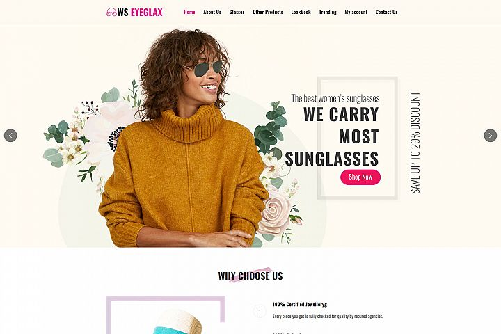 WS EyeGlax Beautiful Fashion & Accessories WordPress theme