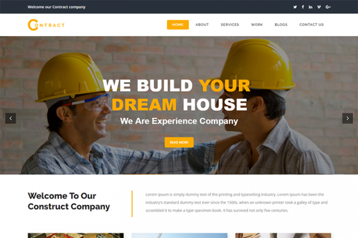 Contract Construction Website Template