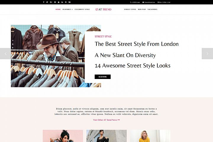 AT Trend Responsive Fashion Magazine Joomla theme