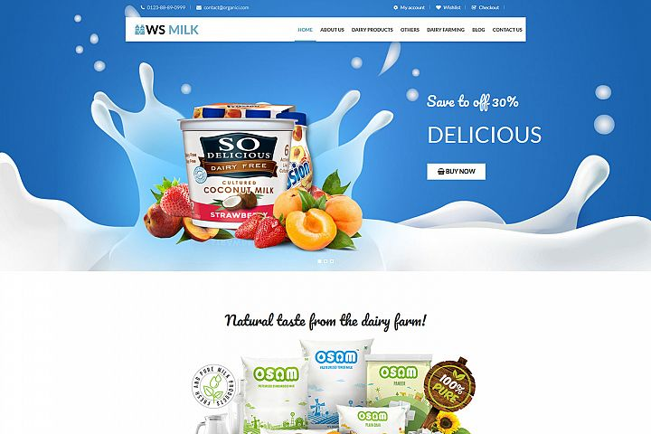 WS Milk Responsive Dairy WooCommerce WordPress theme