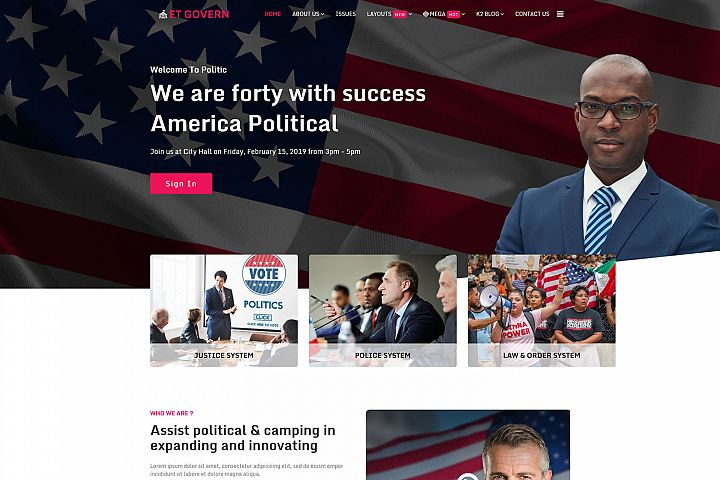 ET Govern Modern Joomla Political template