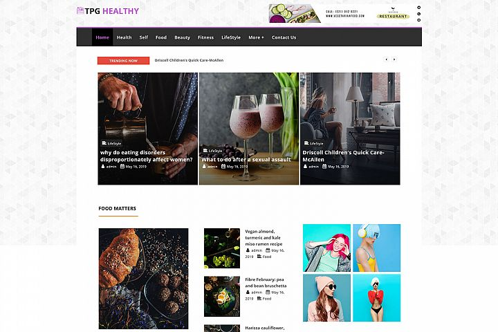 TPG Healthy Elegant Magazine WordPress Theme