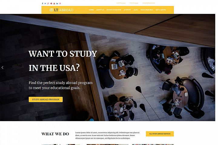 LT Abroad - Premium WordPress Study Abroad Website Template
