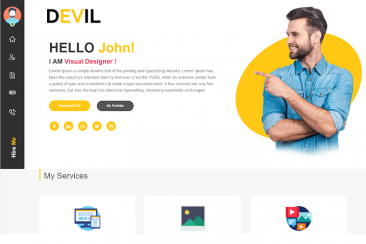 Devil Personal Portfolio, CV and Profile HTML Template