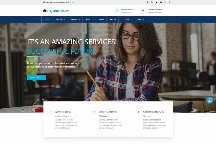 TPG University Education WordPress theme