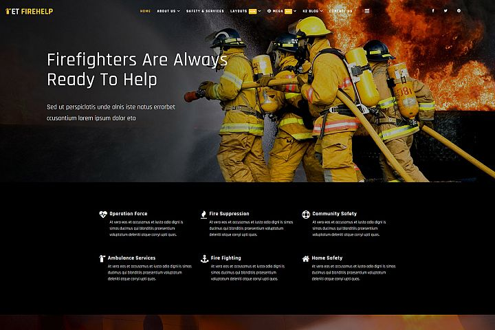 ET Firehelp Responsive Firefighter website template