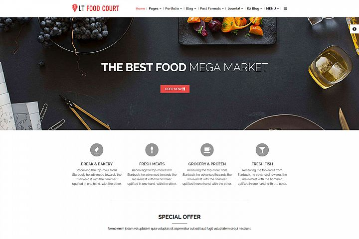 LT Food Court - Premium Joomla Online Food Ordering Template