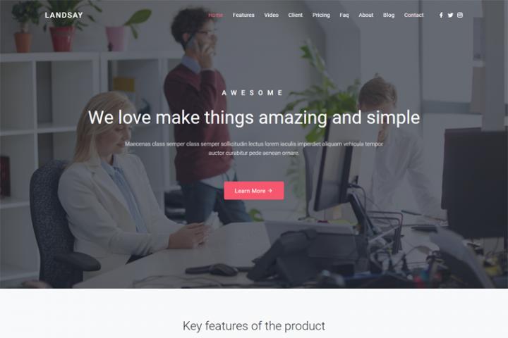 Landsay - Responsive Bootstrap 4 Landing Page Template