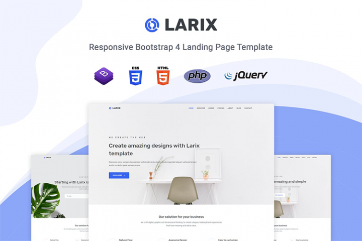 Larix - Minimal One Page HTML5 Template