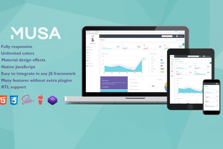 Musa - Bootstrap 4, Sass Admin Template