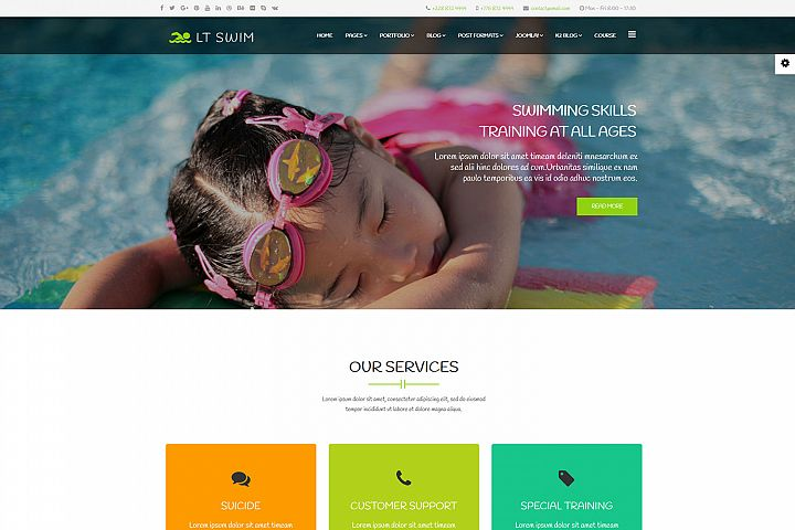LT Swim - Premium Responsive Joomla Swimming template