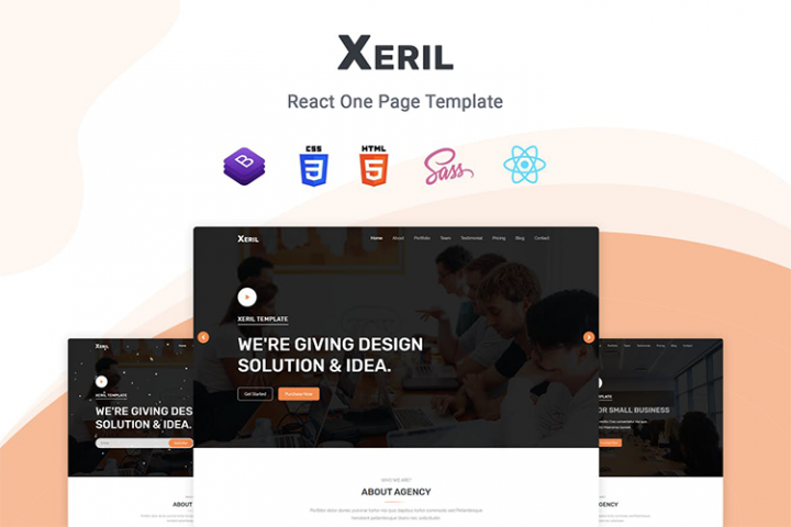 Xeril - React One Page Template