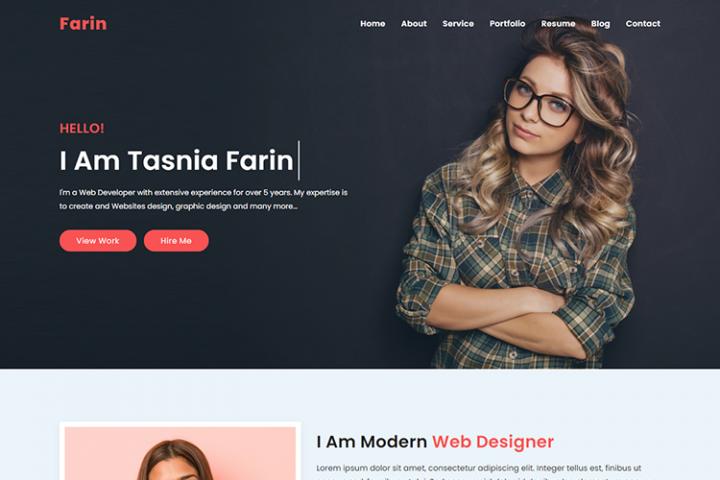Farin Personal Portfolio Template