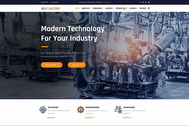 AT Factory Premium Industrial joomla template
