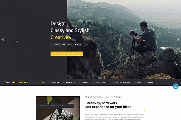 TPG Photography WordPress Photo Gallery theme