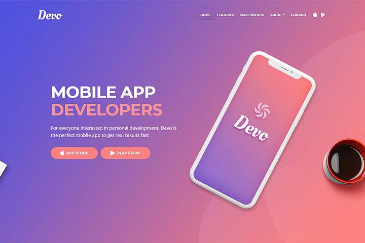 Devo - Mobile App Landing Page Template