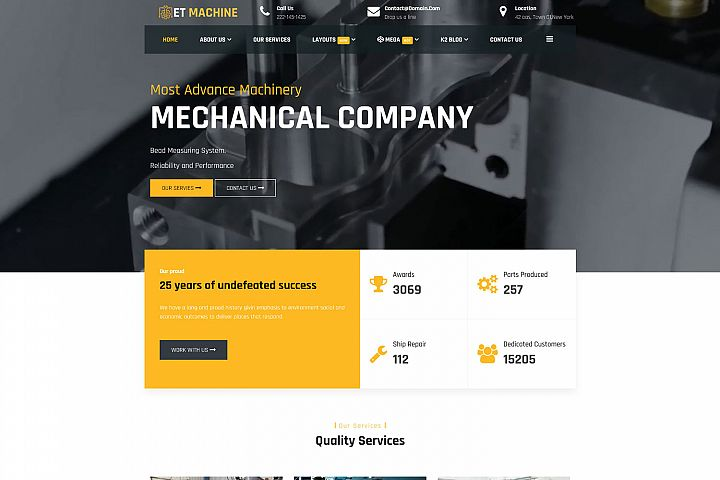ET Machine Responsive Industrial website template