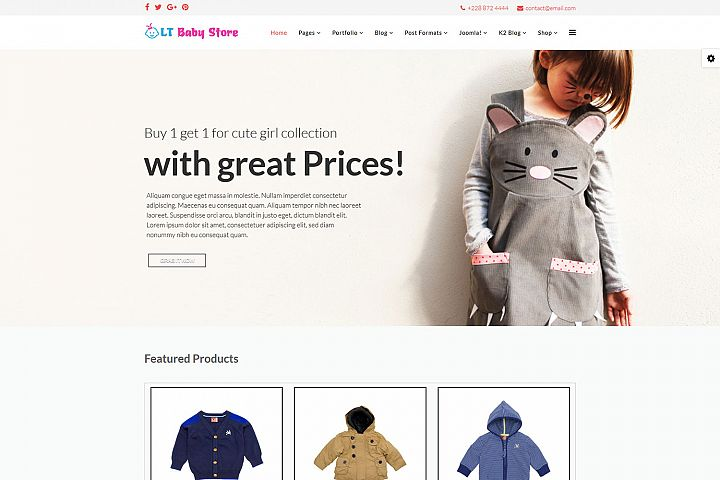 LT Baby Shop - Premium Joomla Baby Clothes Template