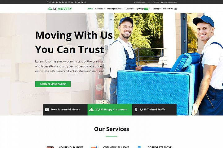 AT Movery Responsive Logistics company website template