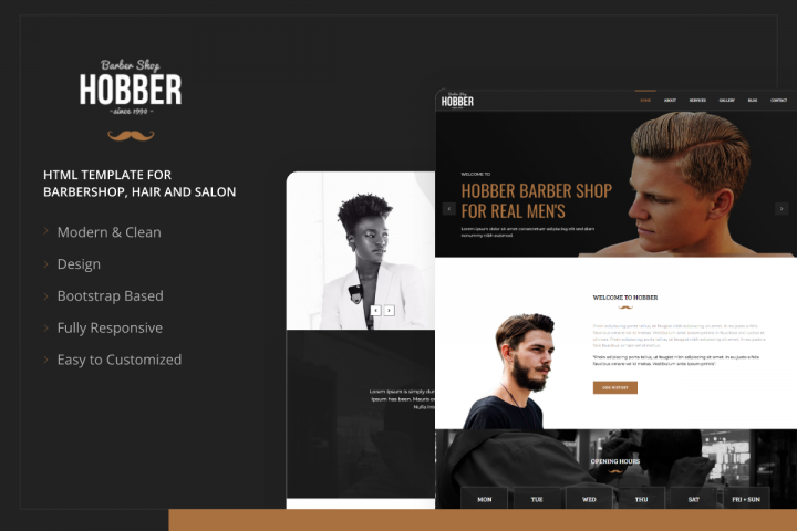 Hobber - Barbershop, Hair and Salon HTML Template