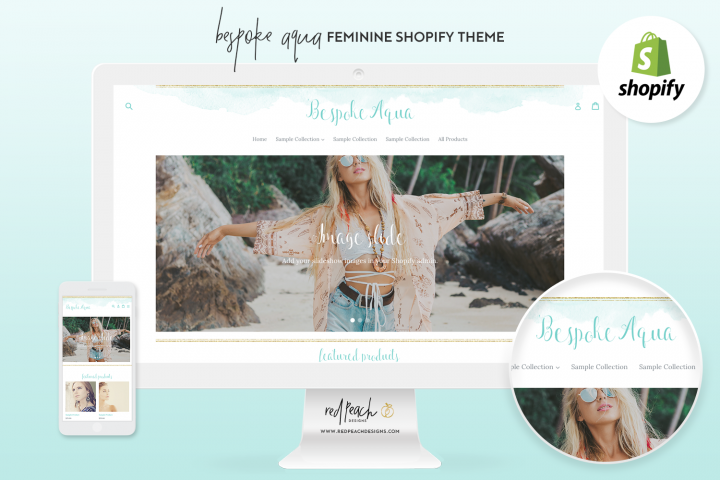 Bespoke Aqua Feminine Responsive Shopify Theme