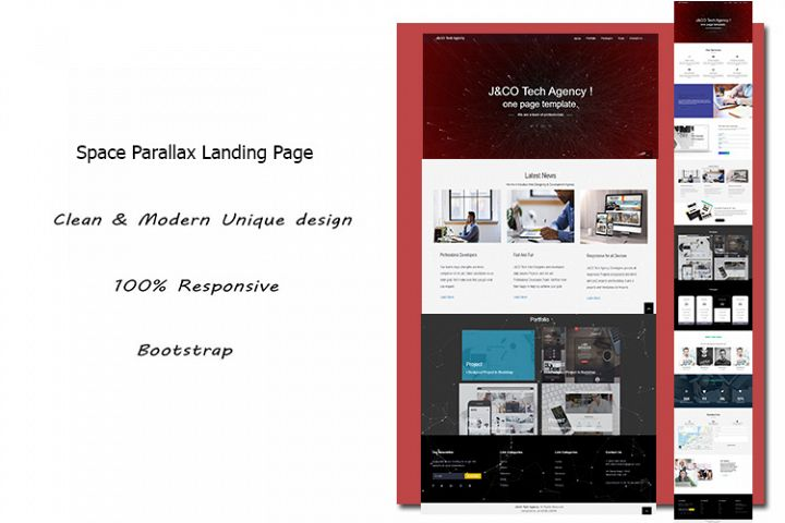 Space Parallax Landing Page