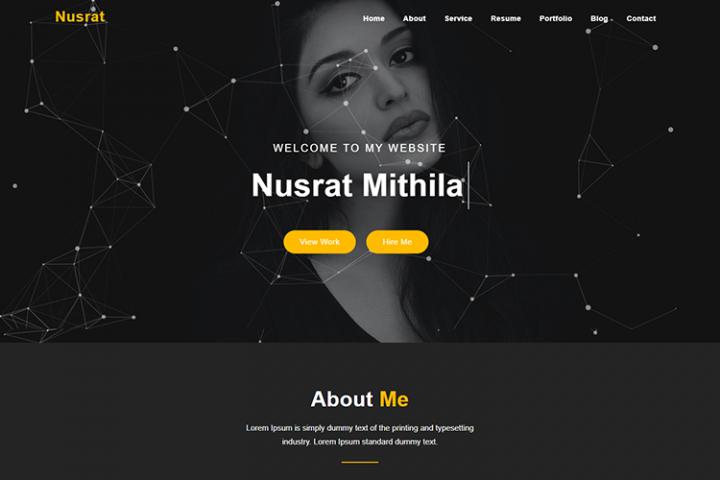Nusrat One Page Portfolio Template