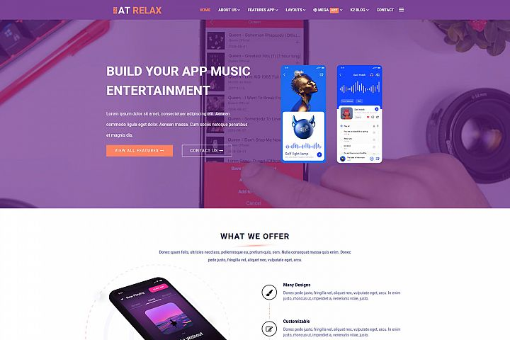 AT Relax Professional Joomla App Template