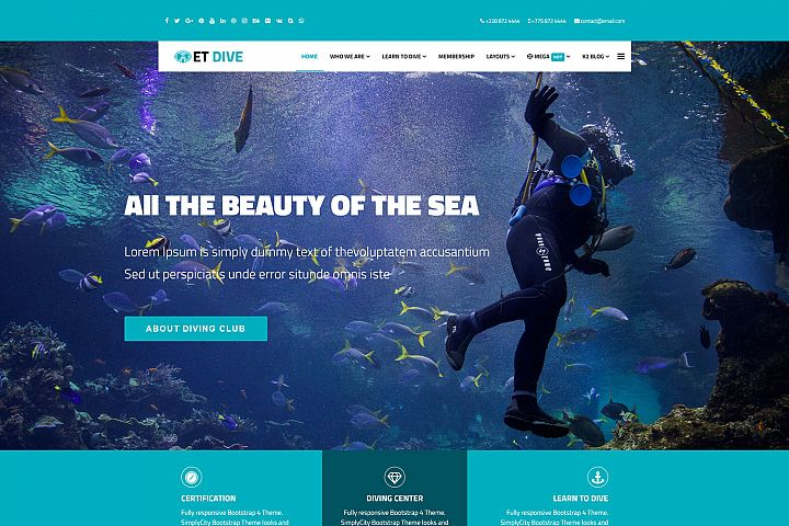 ET Dive Responsive Scuba diving website template